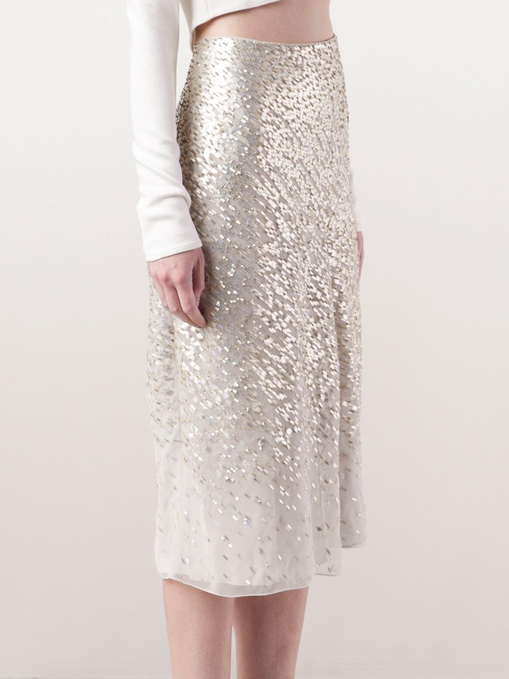 Jason wu Gradient Sequin Skirt in White | Lyst
