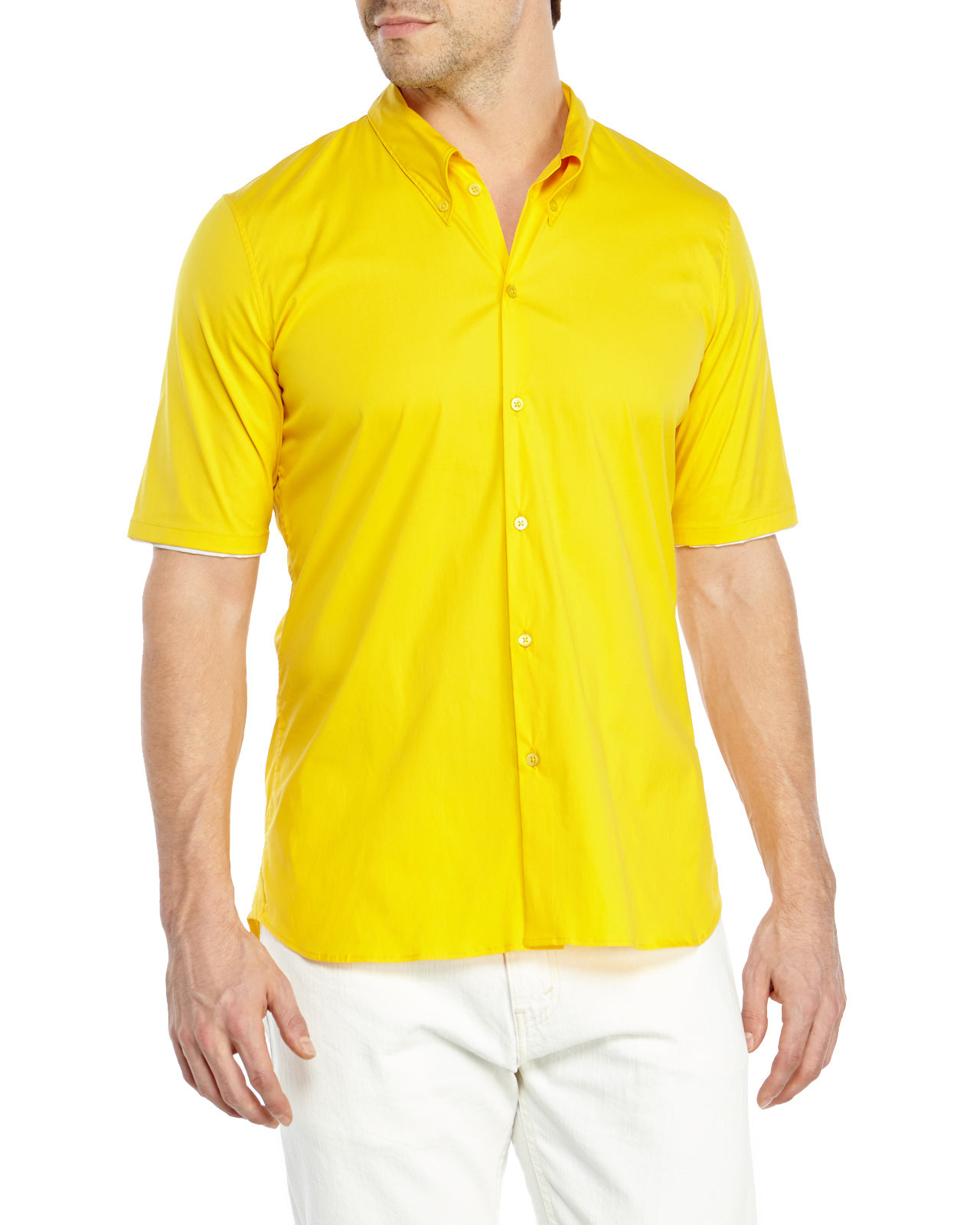 Jil sander Short Sleeve Button-Down Shirt in Yellow for Men | Lyst