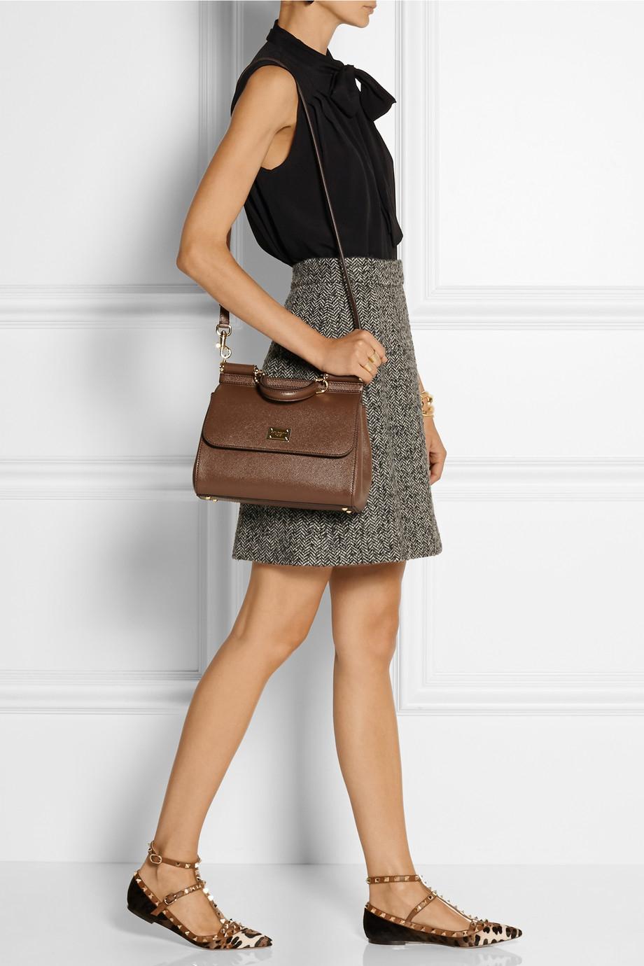 7646832f8 Dolce & Gabbana Sicily Medium Textured-Leather Shoulder Bag in Brown ...