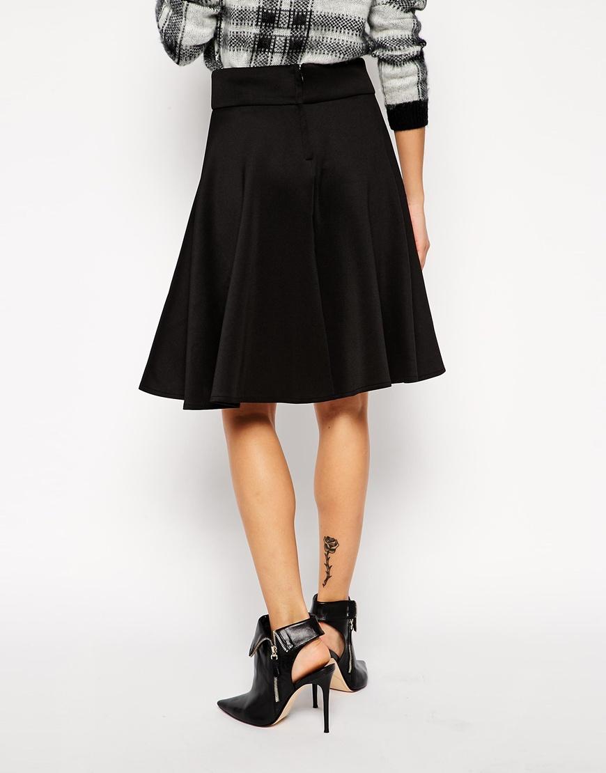 Asos Knee Length Skirt In Scuba in Black | Lyst