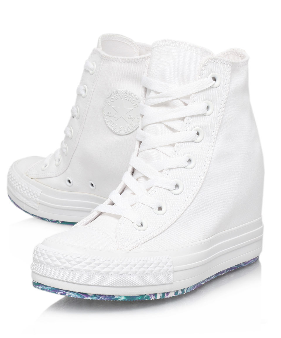 89e8a3a09a429d Lyst - Converse White Chuck Taylor Platform Plus Wedge Trainers in White