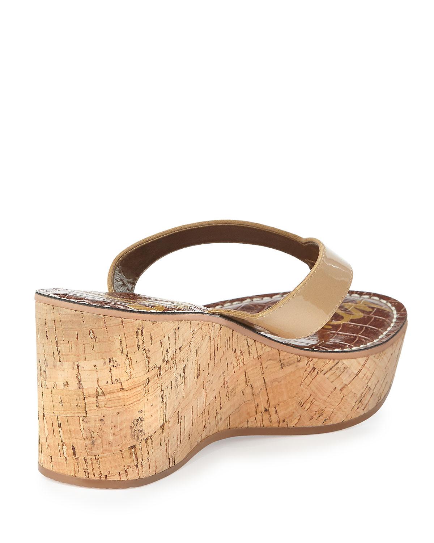 Sam Edelman Romy Metallic Leather Wedge Sandal In Metallic