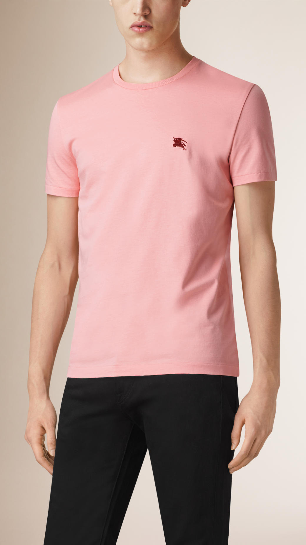 Burberry liquid soft cotton t shirt in pink for men coral for Soft cotton dress shirts
