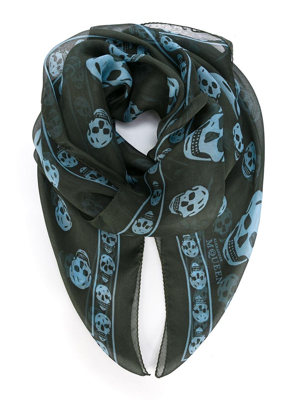 mcqueen skull scarf in green for lyst