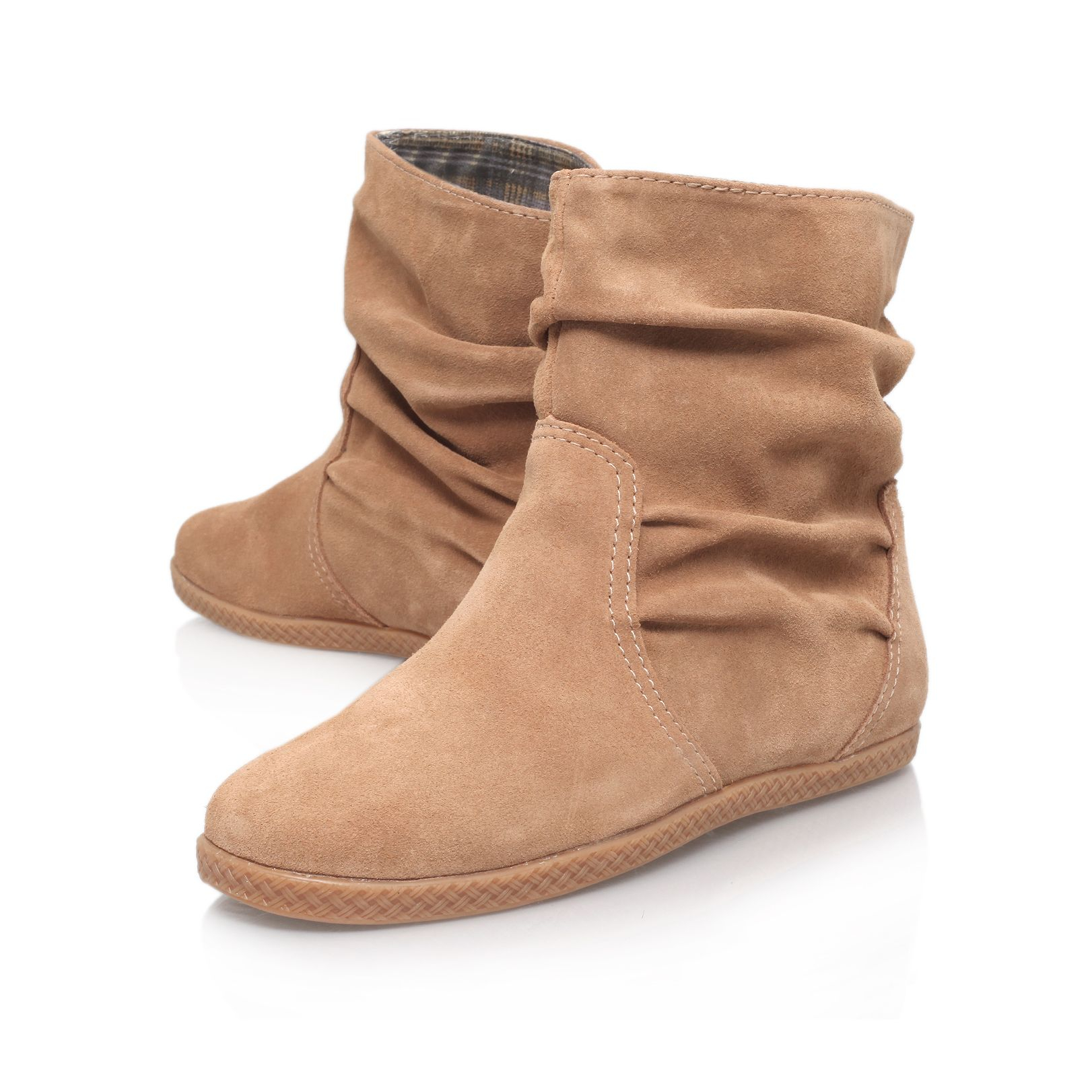 Nine west Rockinout Flat Ankle Boots in Natural | Lyst