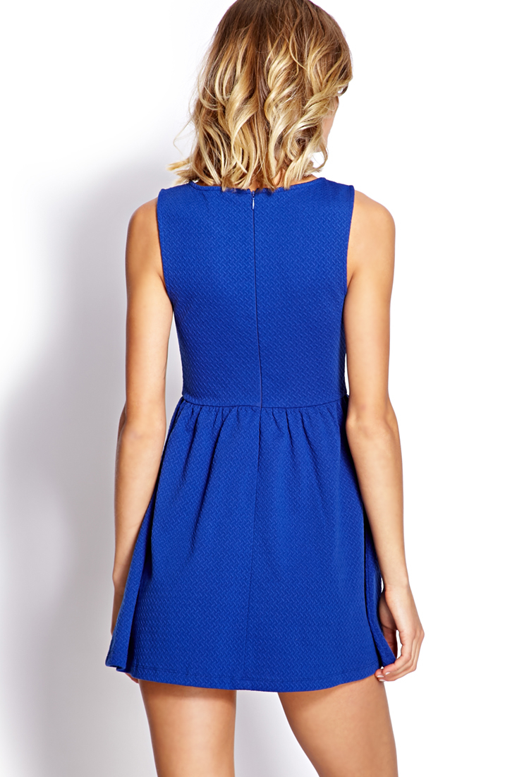 Lyst Forever 21 Classic Fit Amp Flare Dress In Blue