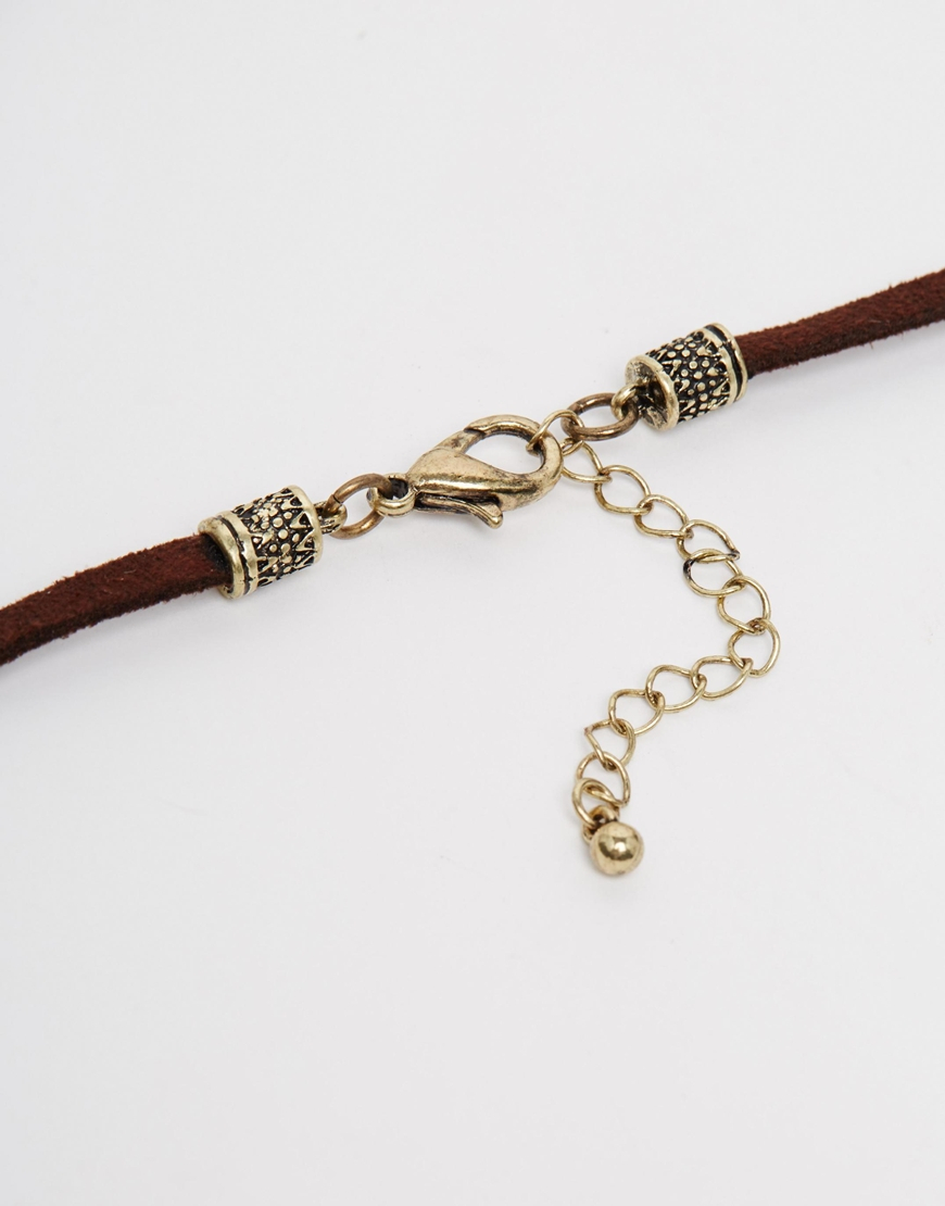 asos leather necklace with cross in brown for lyst