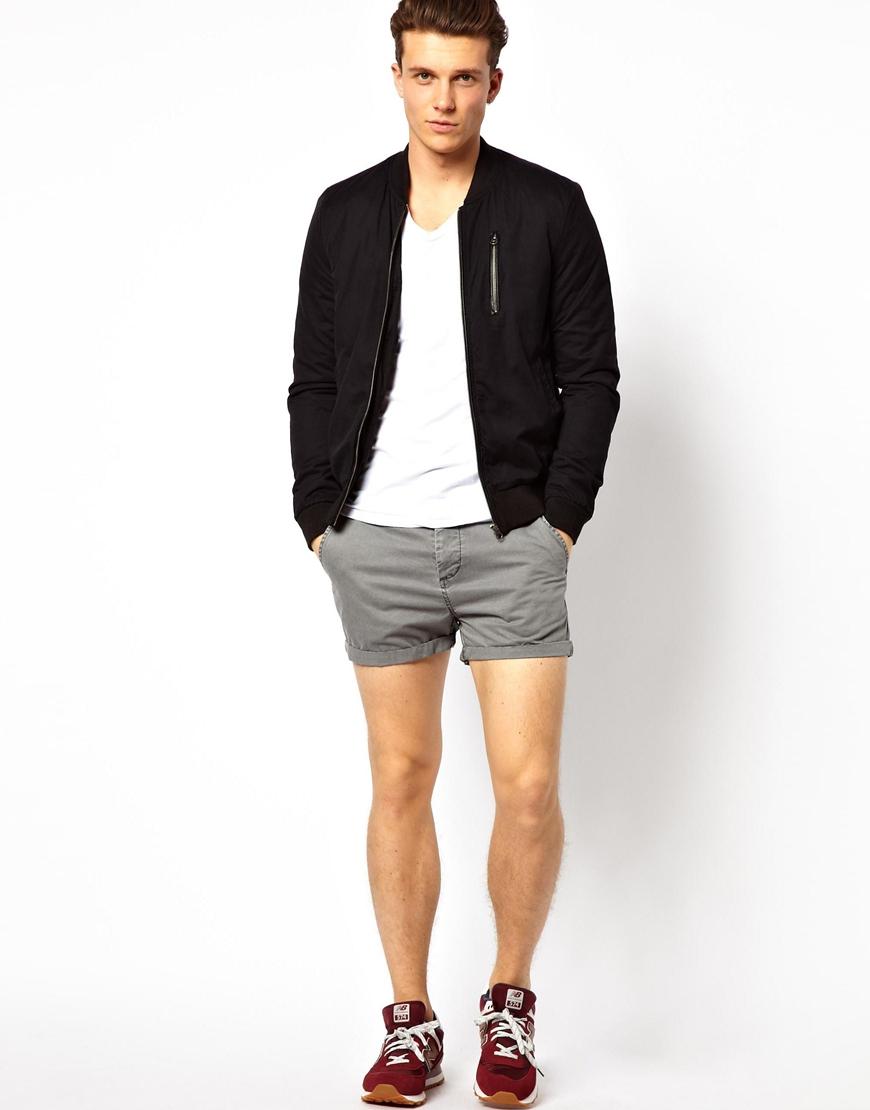 Asos Chino Shorts In Shorter Length in Gray for Men | Lyst