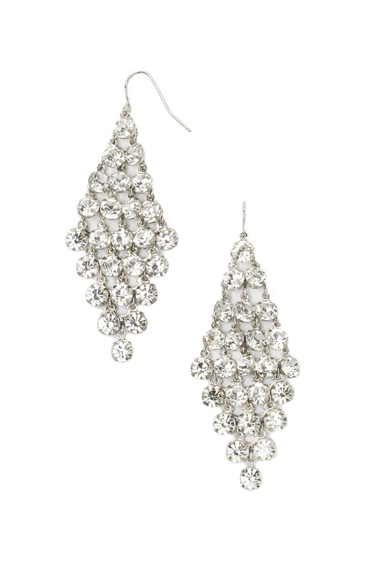 Lyst forever 21 rhinestone chandelier earrings in metallic gallery aloadofball Images