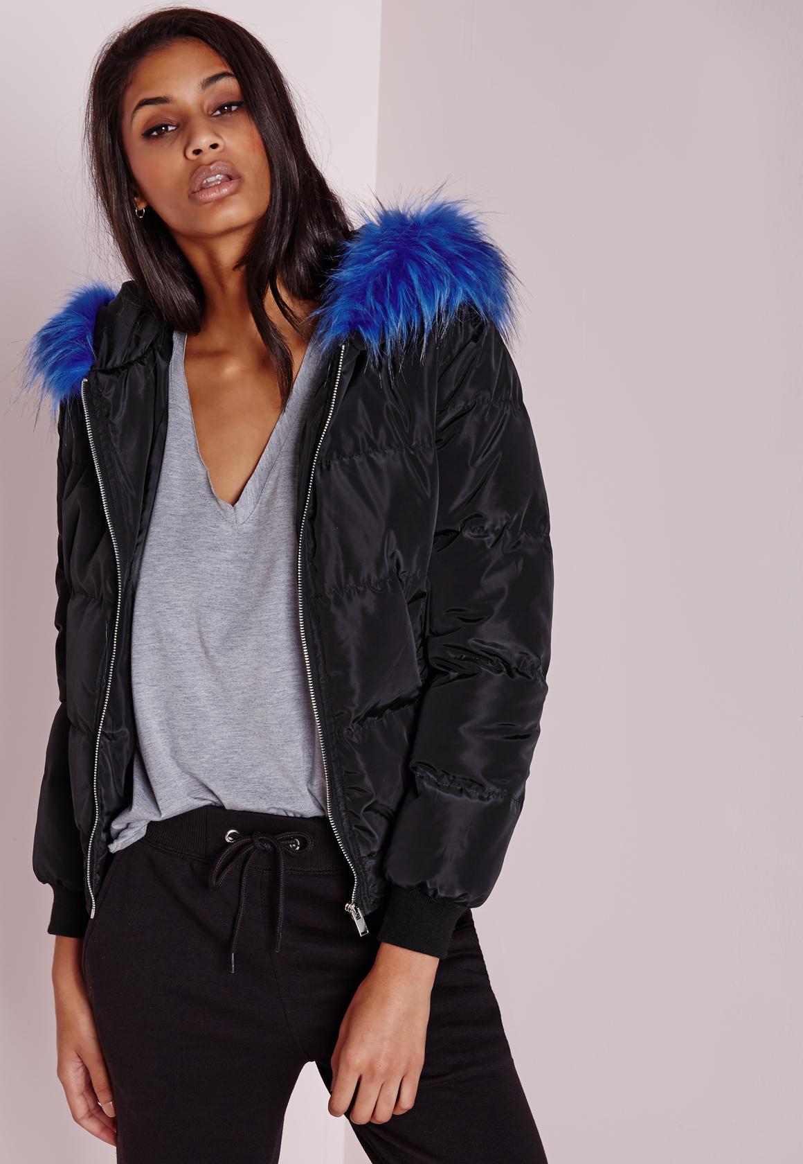 Lyst Missguided Padded Cobalt Fur Hood Jacket Black In Blue