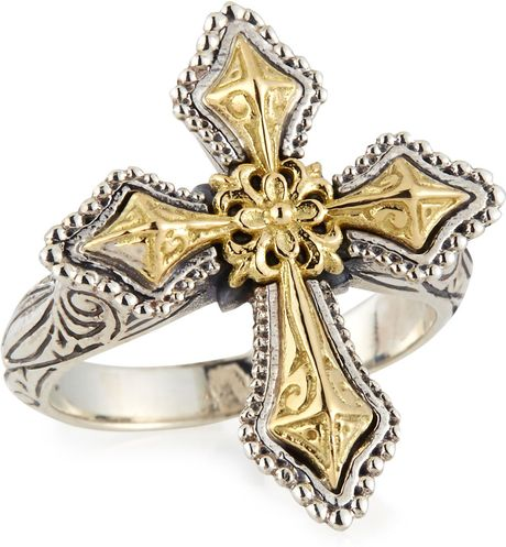 Konstantino Engraved Sterling Silver Gold Cross Ring In