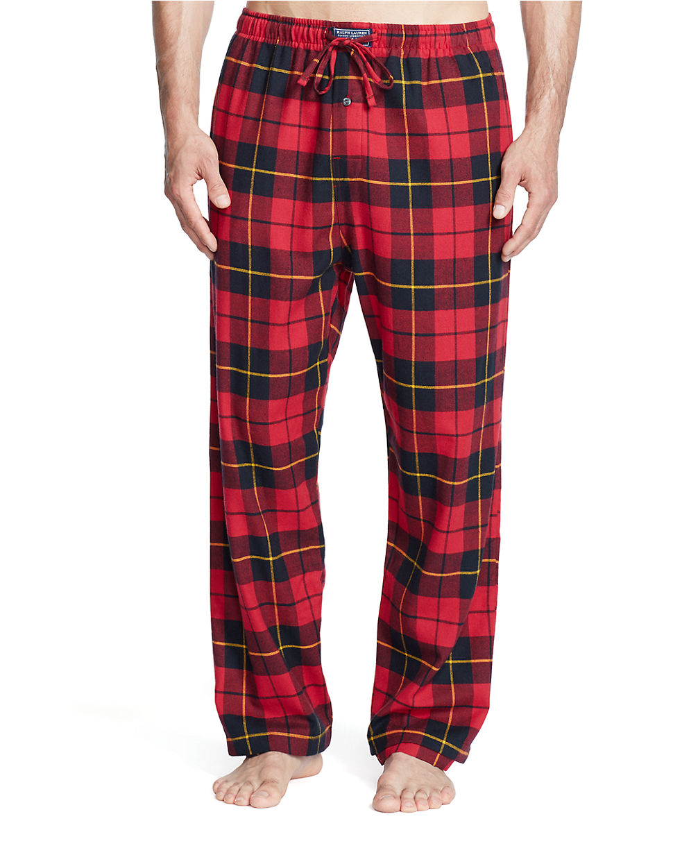 Polo Ralph Lauren Plaid Flannel Cotton Pajama Pants In Red