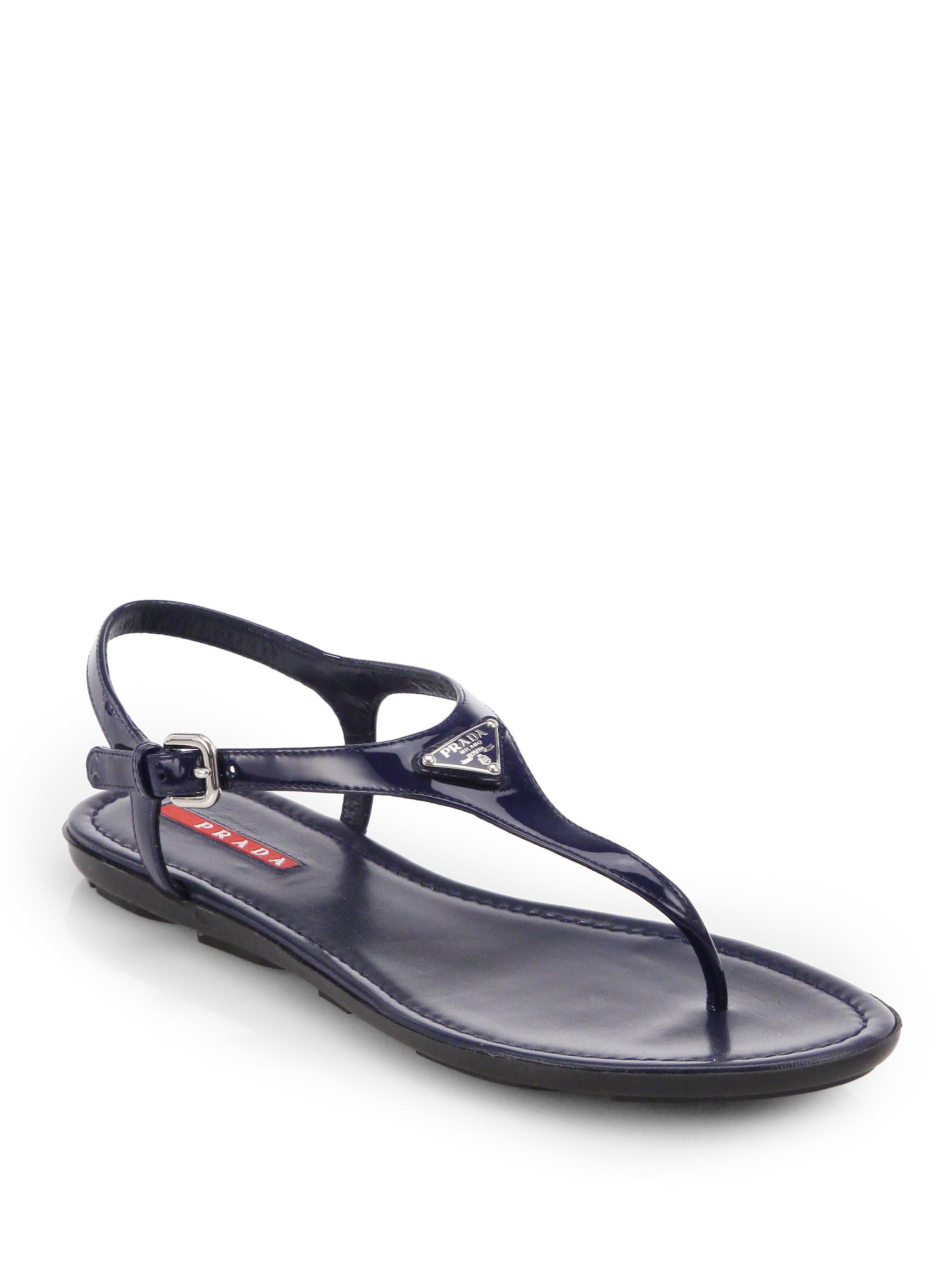Prada Patent Leather T Strap Sandals In Blue Lyst
