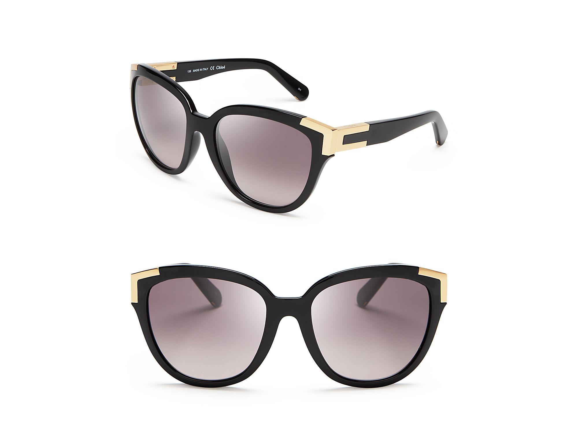 32180b1fe5 Chloé Chloé Oversized Cat Eye Sunglasses in Black - Lyst