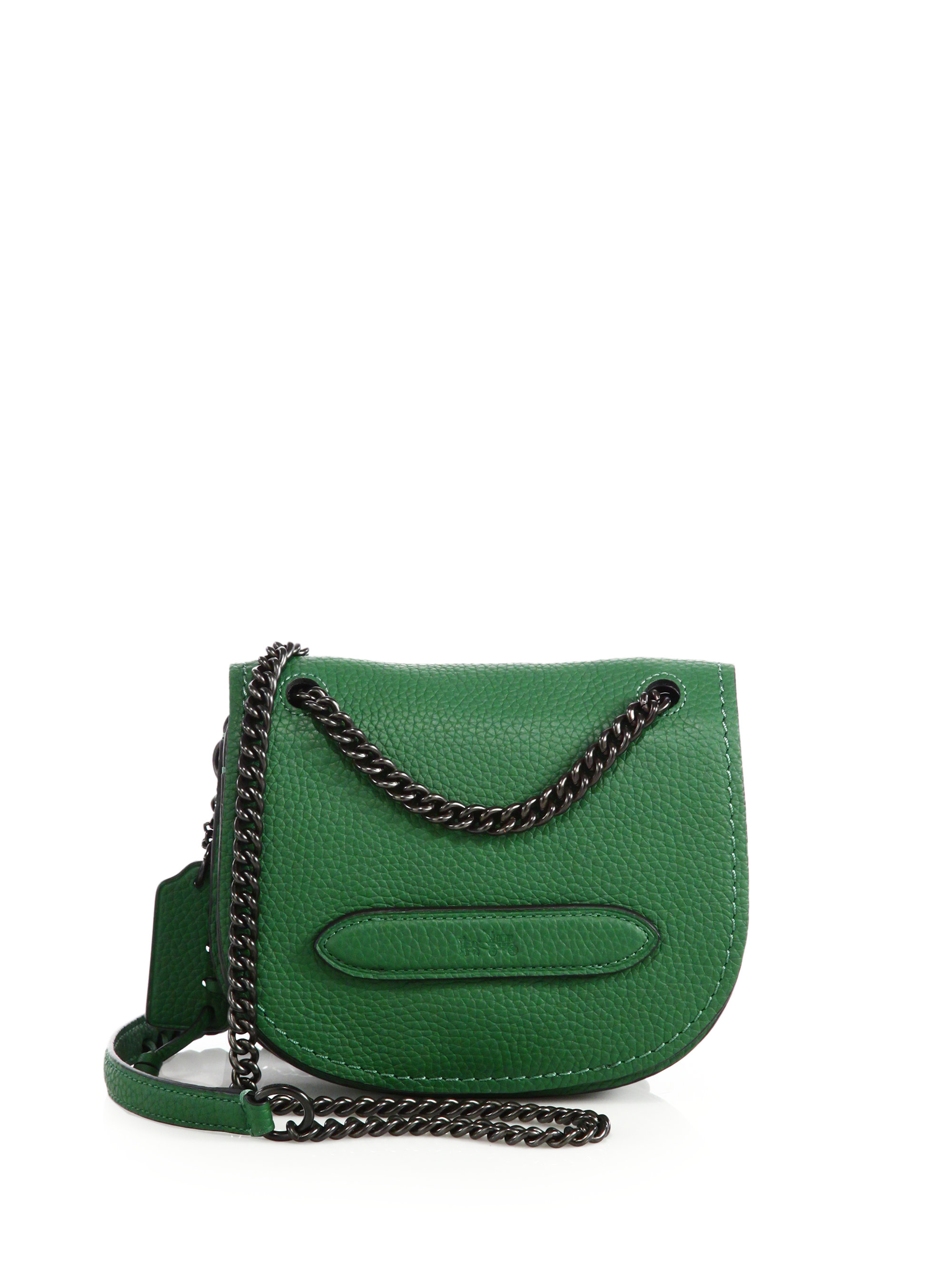 9d9962666a ... official lyst coach pebbled leather small shadow crossbody bag in green  678a2 1de3a