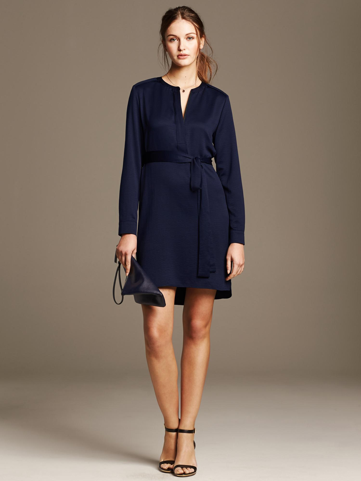 119b44d207d Banana Republic Navy Zip-Front Shirtdress in Blue - Lyst