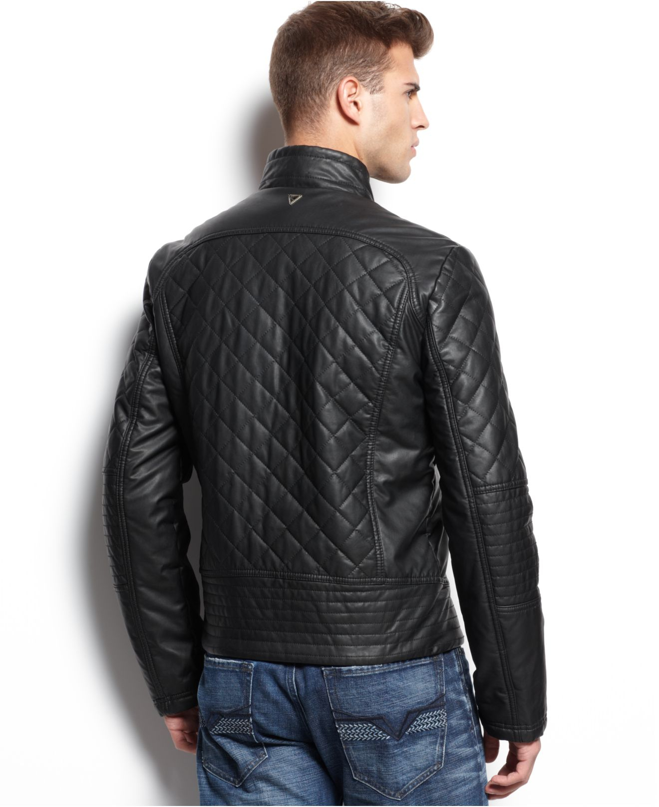 Guess Diamond Quilted Jacket in Black for Men | Lyst : mens black quilted coat - Adamdwight.com