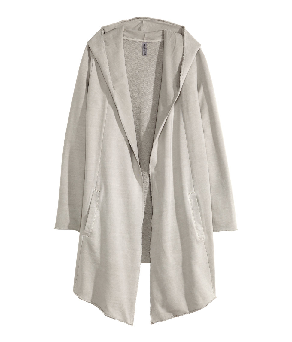 H&m Hooded Cardigan in Gray | Lyst