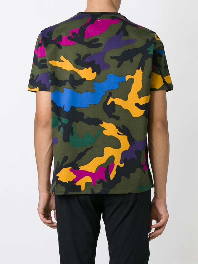 Valentino Multicolor Camouflage Print Cotton T Shirt For