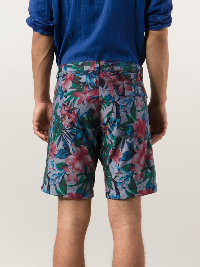 ed82f3a183 Naked & Famous Flower-Print Bermuda Shorts in Blue for Men - Lyst