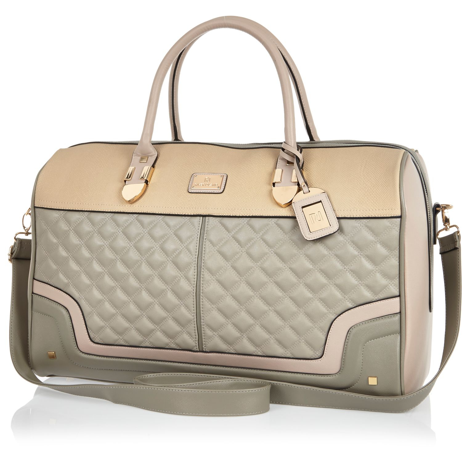 River island Grey Quilted Weekend Bag in Gray | Lyst