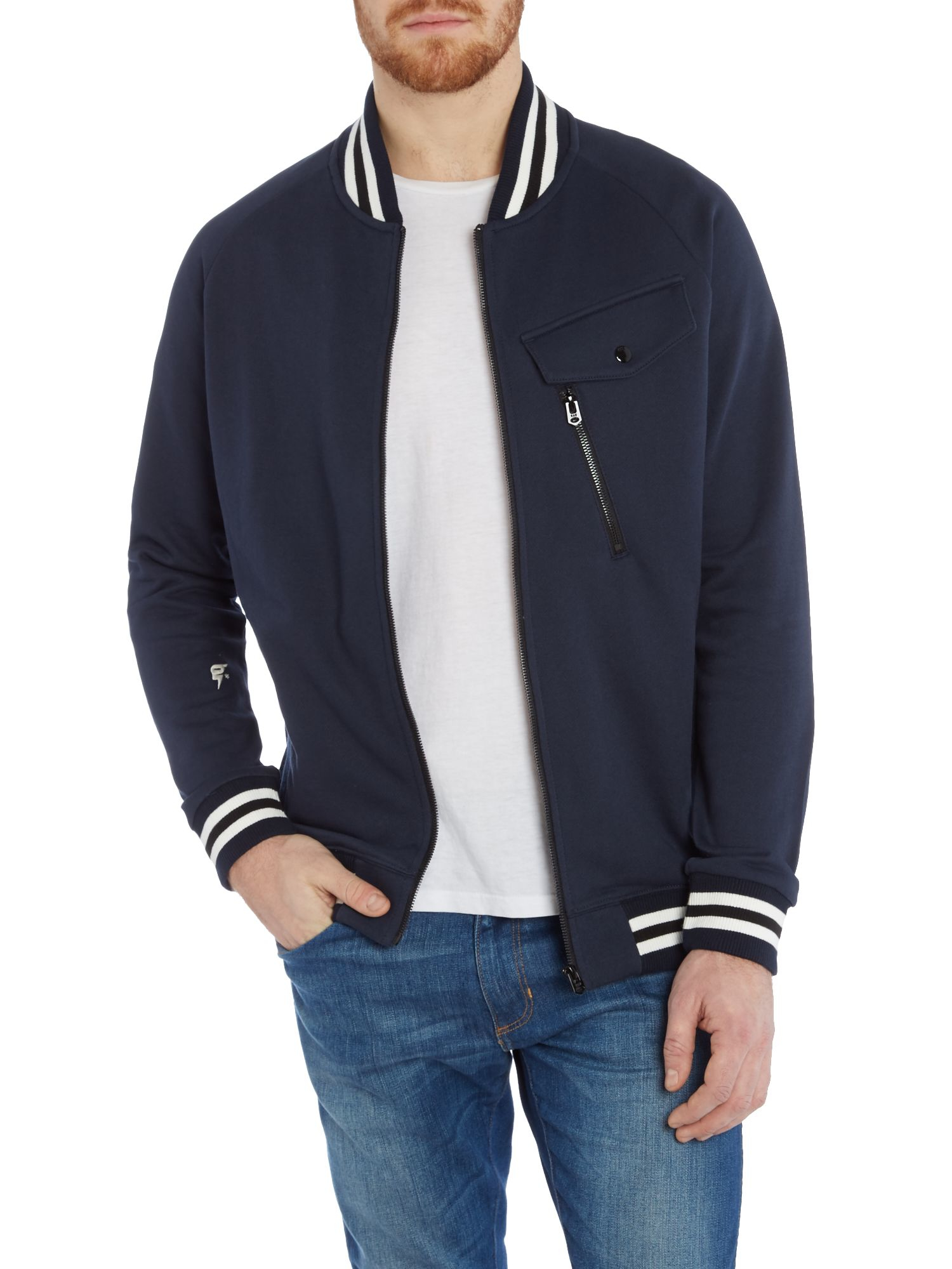 g star raw frockt varisty sweat bomber jacket in blue for men lyst. Black Bedroom Furniture Sets. Home Design Ideas