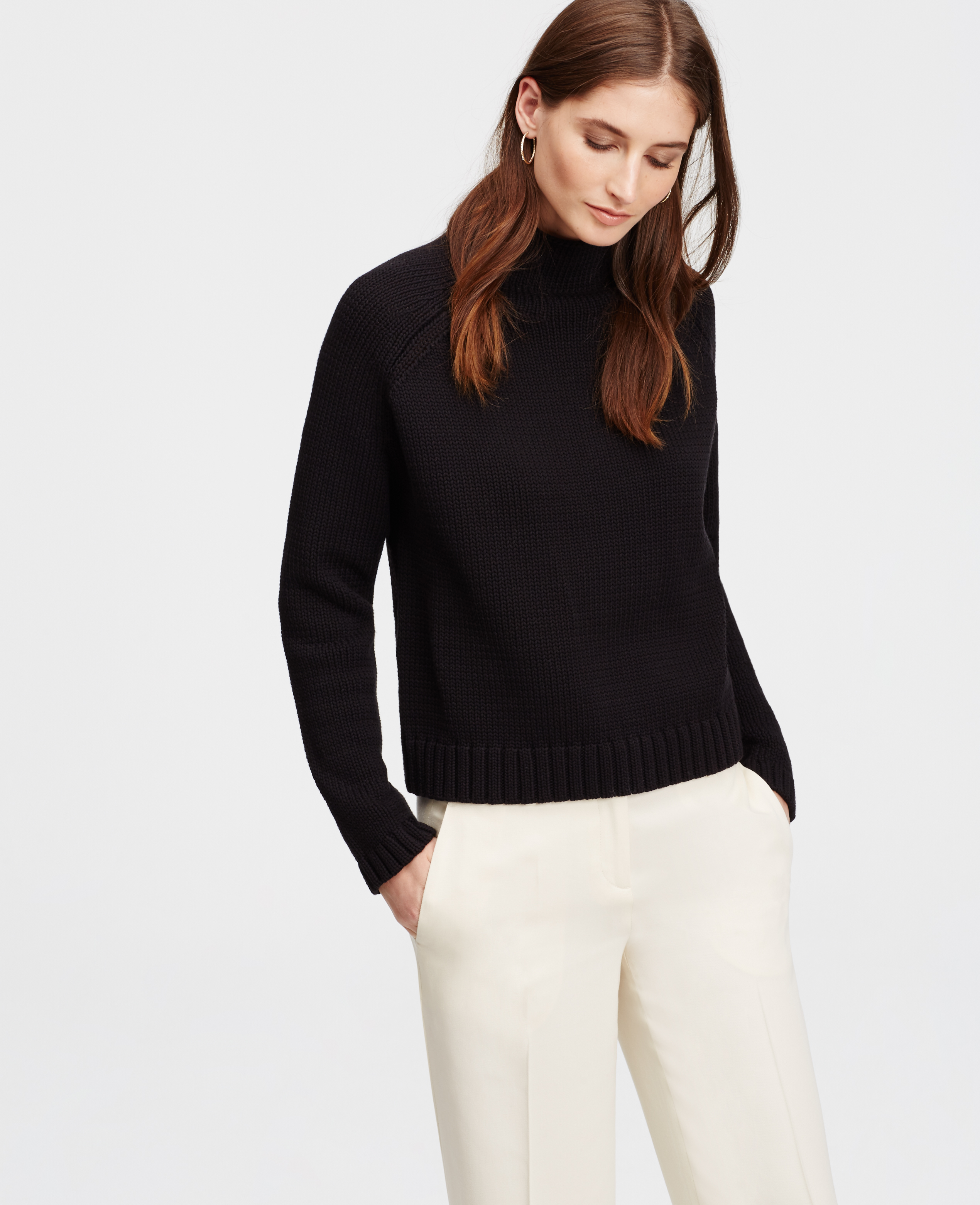 Ann taylor Petite Cropped Turtleneck Sweater in Black | Lyst