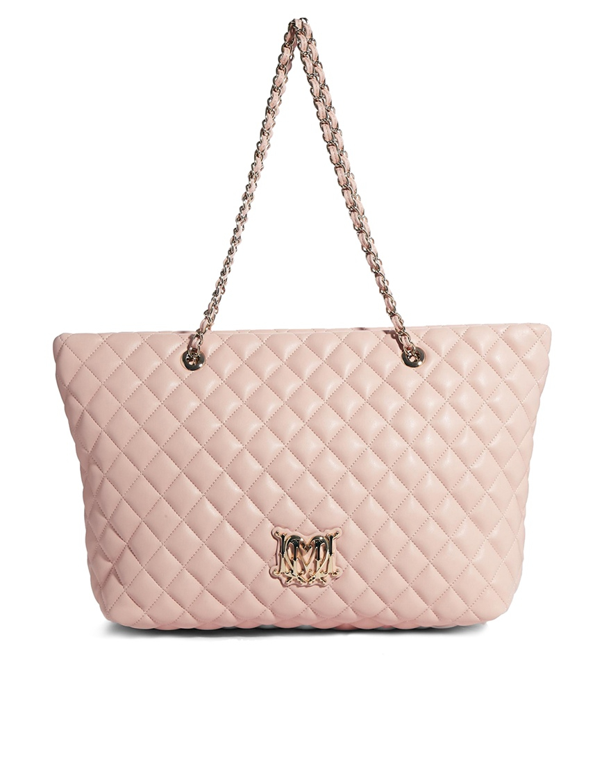 love moschino large quilted shopper bag in pink lyst. Black Bedroom Furniture Sets. Home Design Ideas