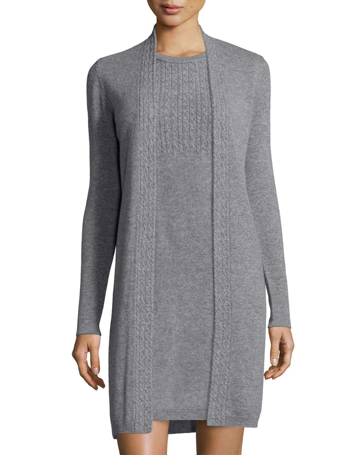 Magaschoni Long-sleeve Cable-knit Trim Cashmere Duster in Gray | Lyst