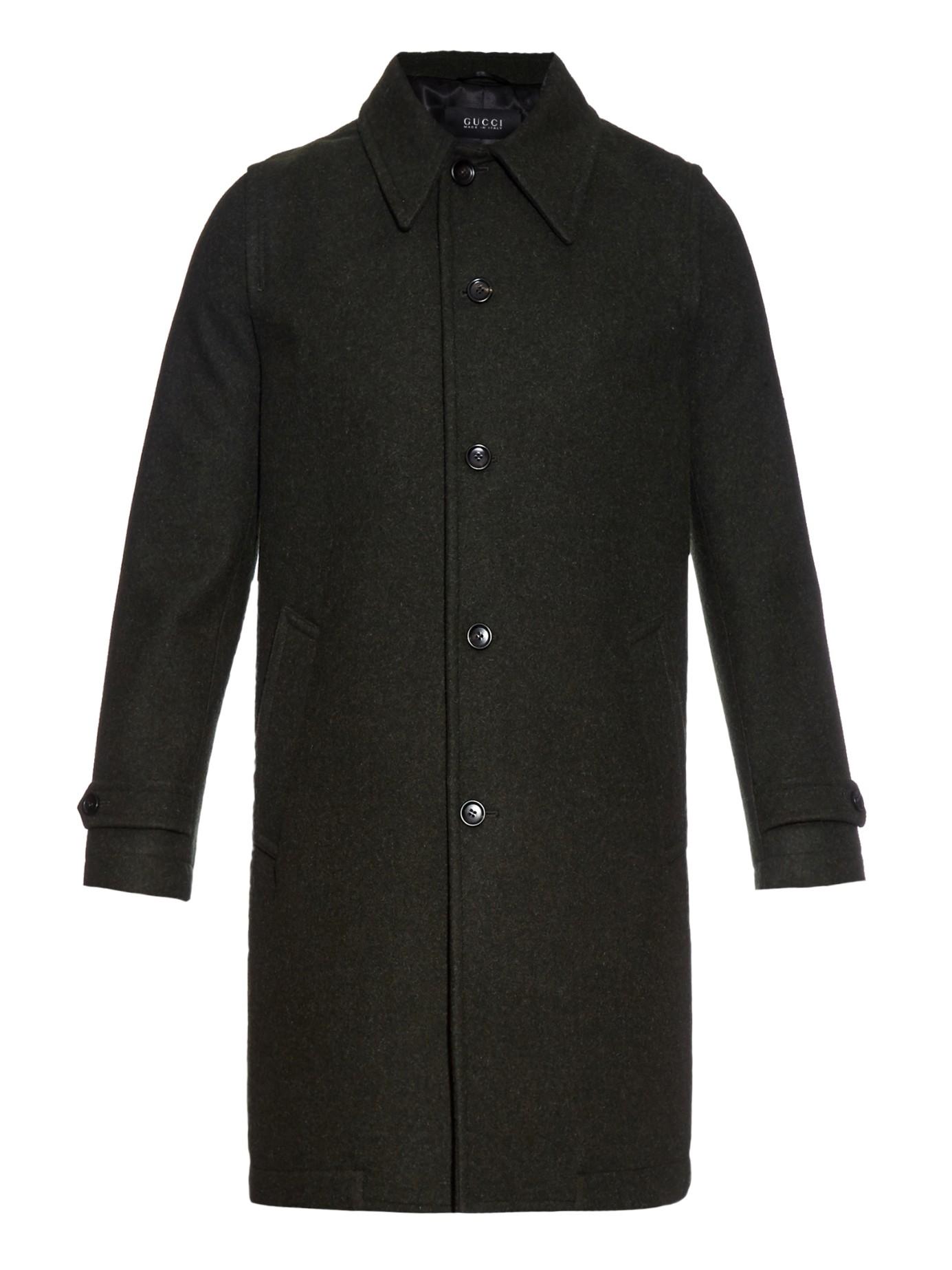 Long Crew Cut Men Gucci Loden Wool Coat ...