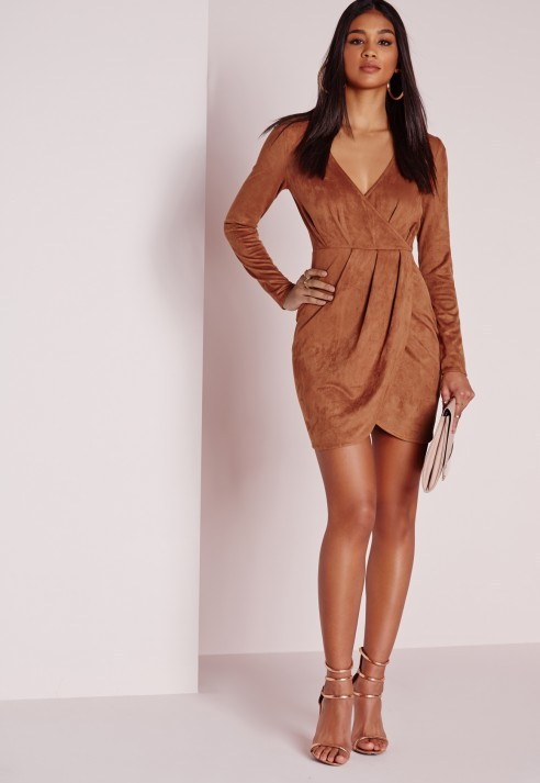 Missguided Faux Suede Long Sleeve Wrap Dress Brown in Brown | Lyst