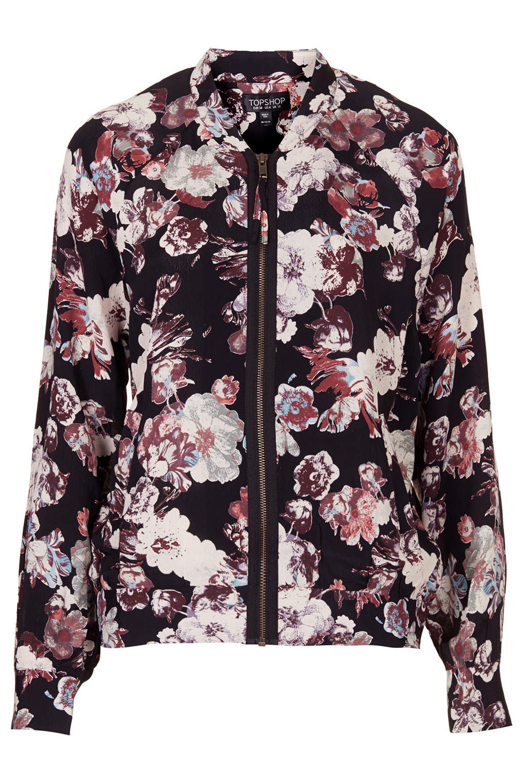 Topshop Blurred Flower Bomber Jacket in Black | Lyst