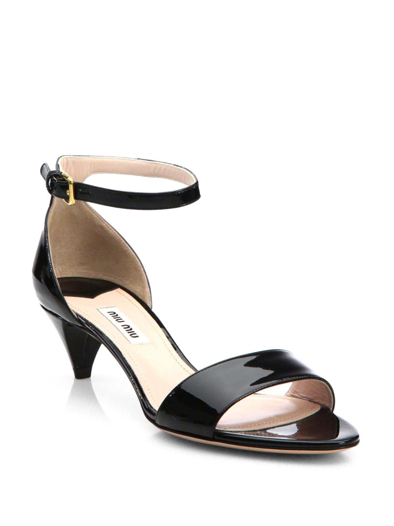 Black Heel Vbigmyf76y In Patent Leather Sandals Kitten Lyst Miu lFTKJ1c