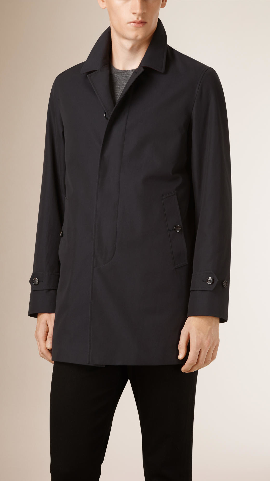Burberry Down-filled Cotton Gabardine Car Coat in Blue for Men | Lyst