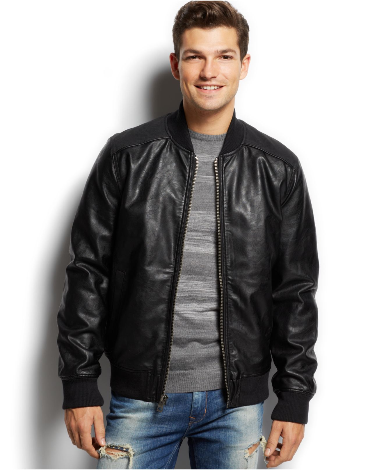 Guess Faux-Leather Bomber Jacket in Black for Men | Lyst