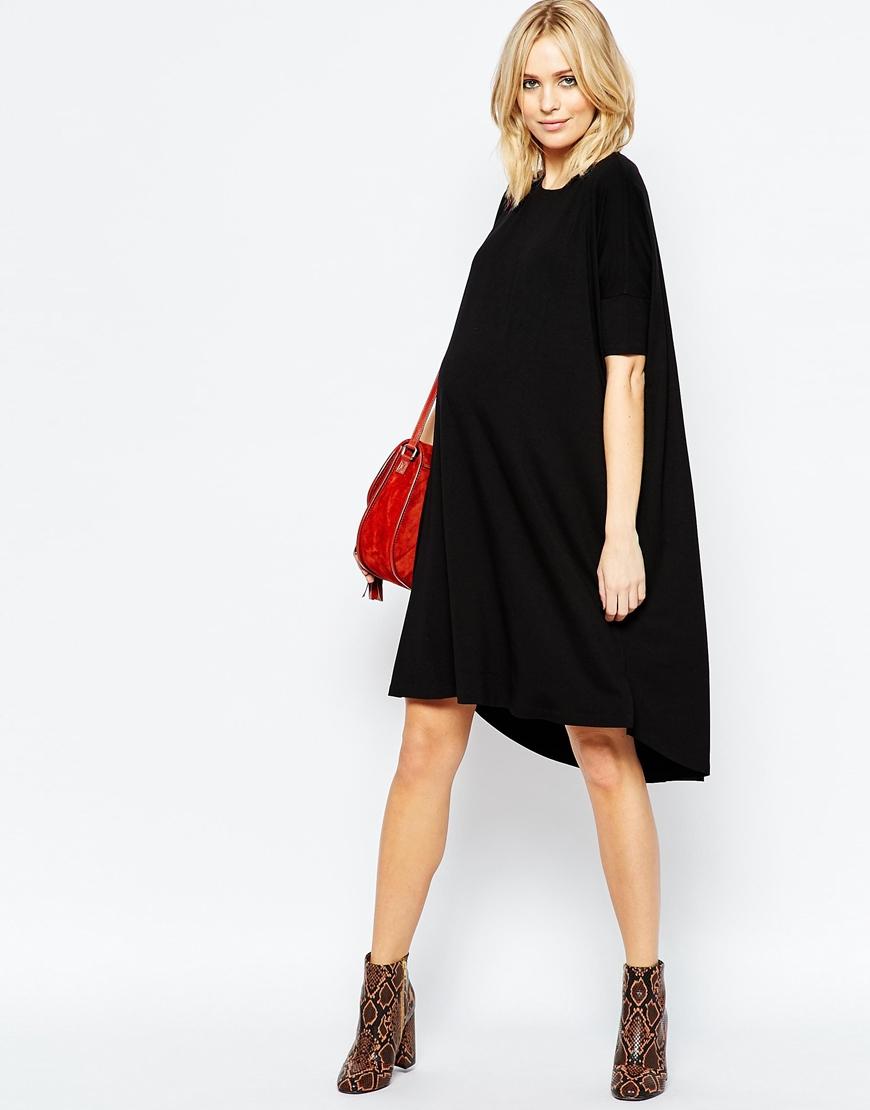 Asos midi t shirt dress in black lyst for Midi shirt dress black