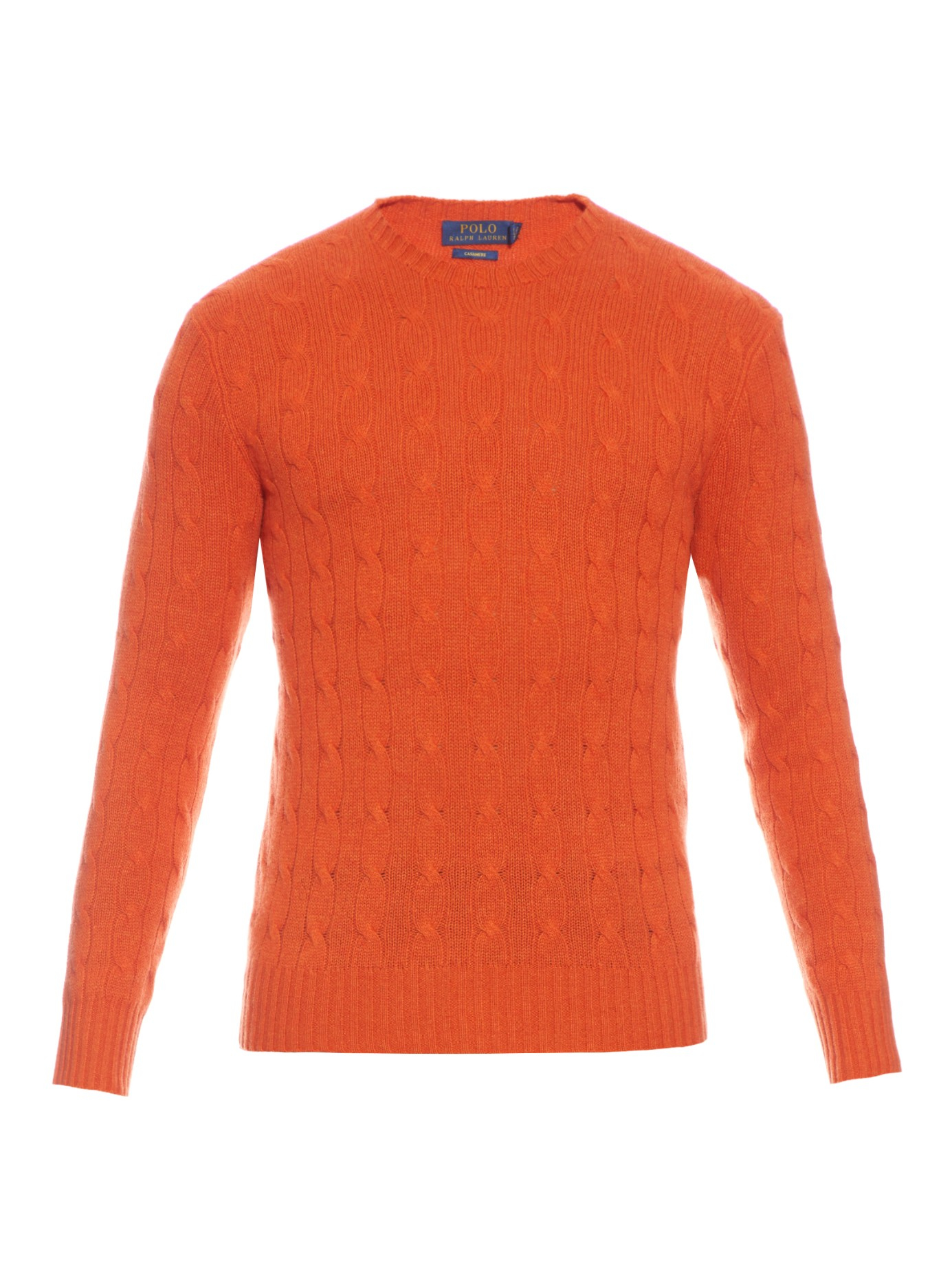 Polo ralph lauren Cable-knit Cashmere Sweater in Orange for Men | Lyst