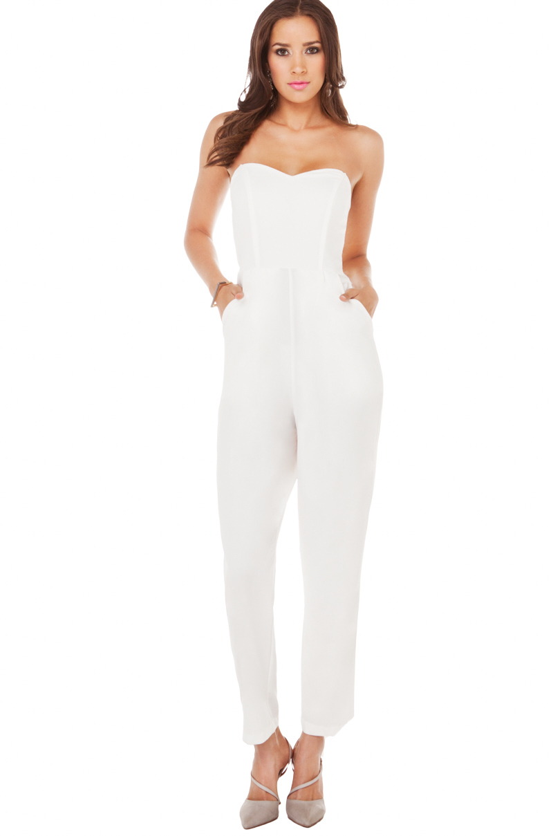 Akira Strapless Pleated Jumpsuit in White | Lyst