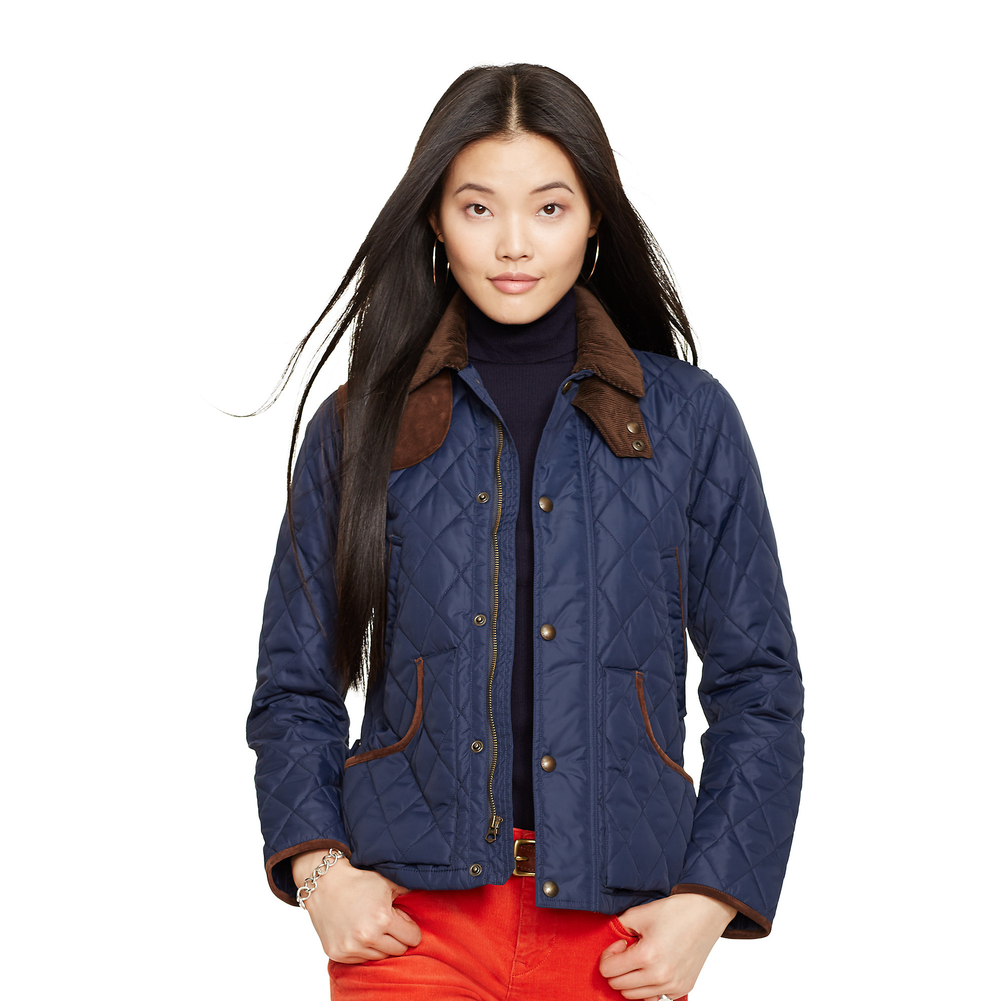 Polo ralph lauren Suede-trim Quilted Jacket in Blue