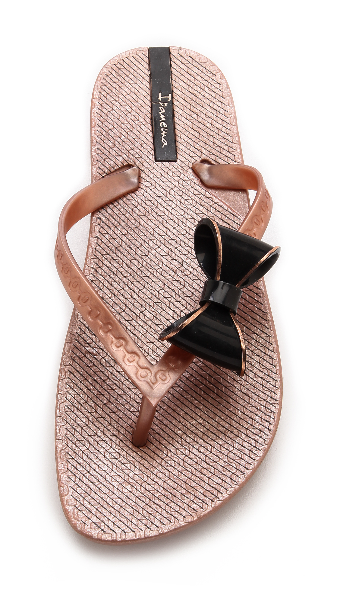 63ac068f2ce10 Lyst - Ipanema Neo Clara Bow Flip Flops - Rose Gold Black in Metallic