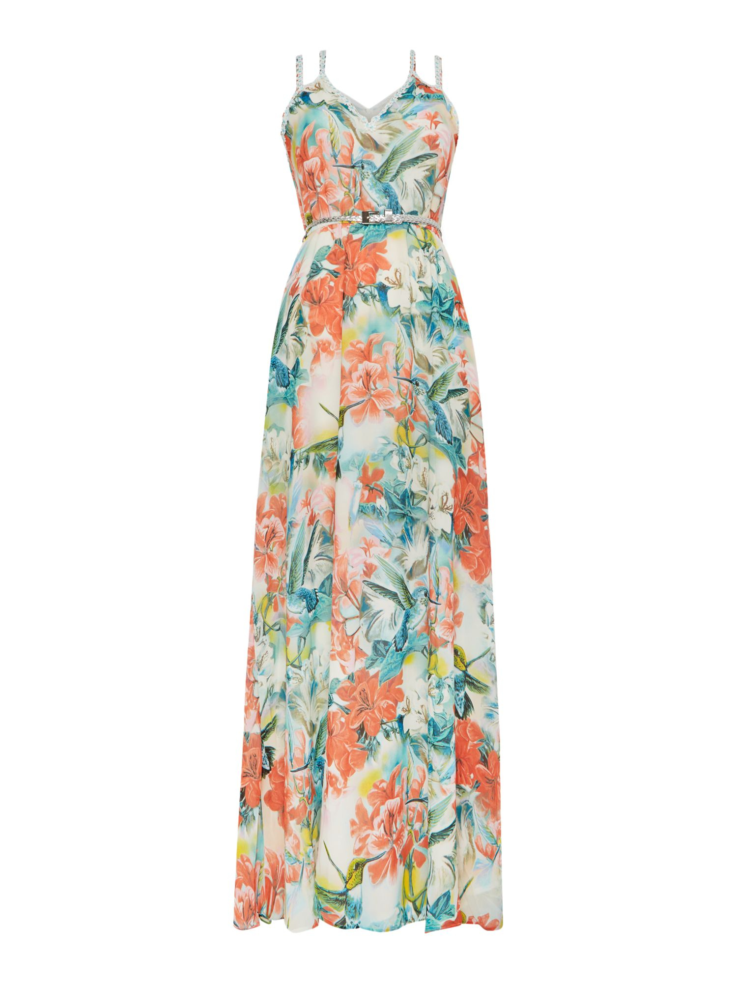 louche high neck belted maxi dress lyst