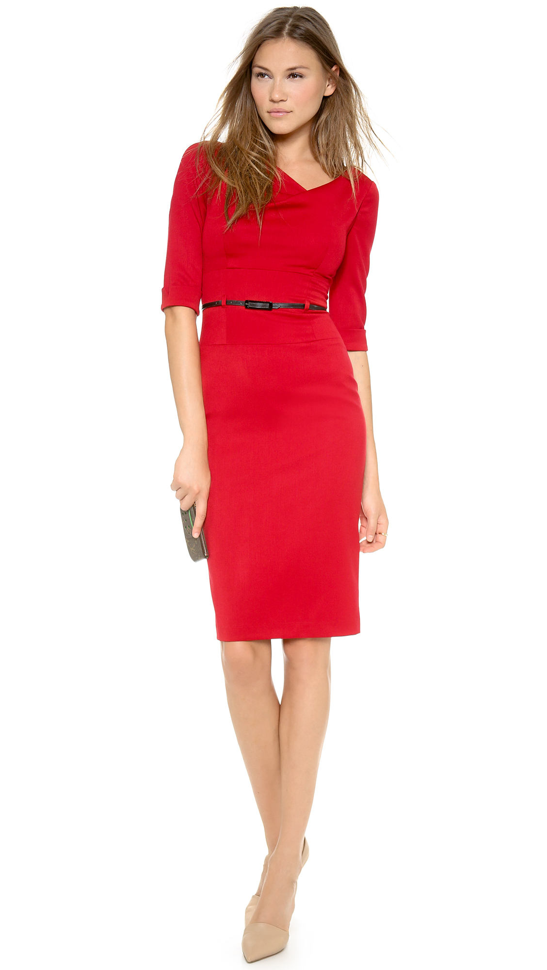 Black Halo 3/4 Sleeve Jackie O Dress - Eclipse in Red | Lyst
