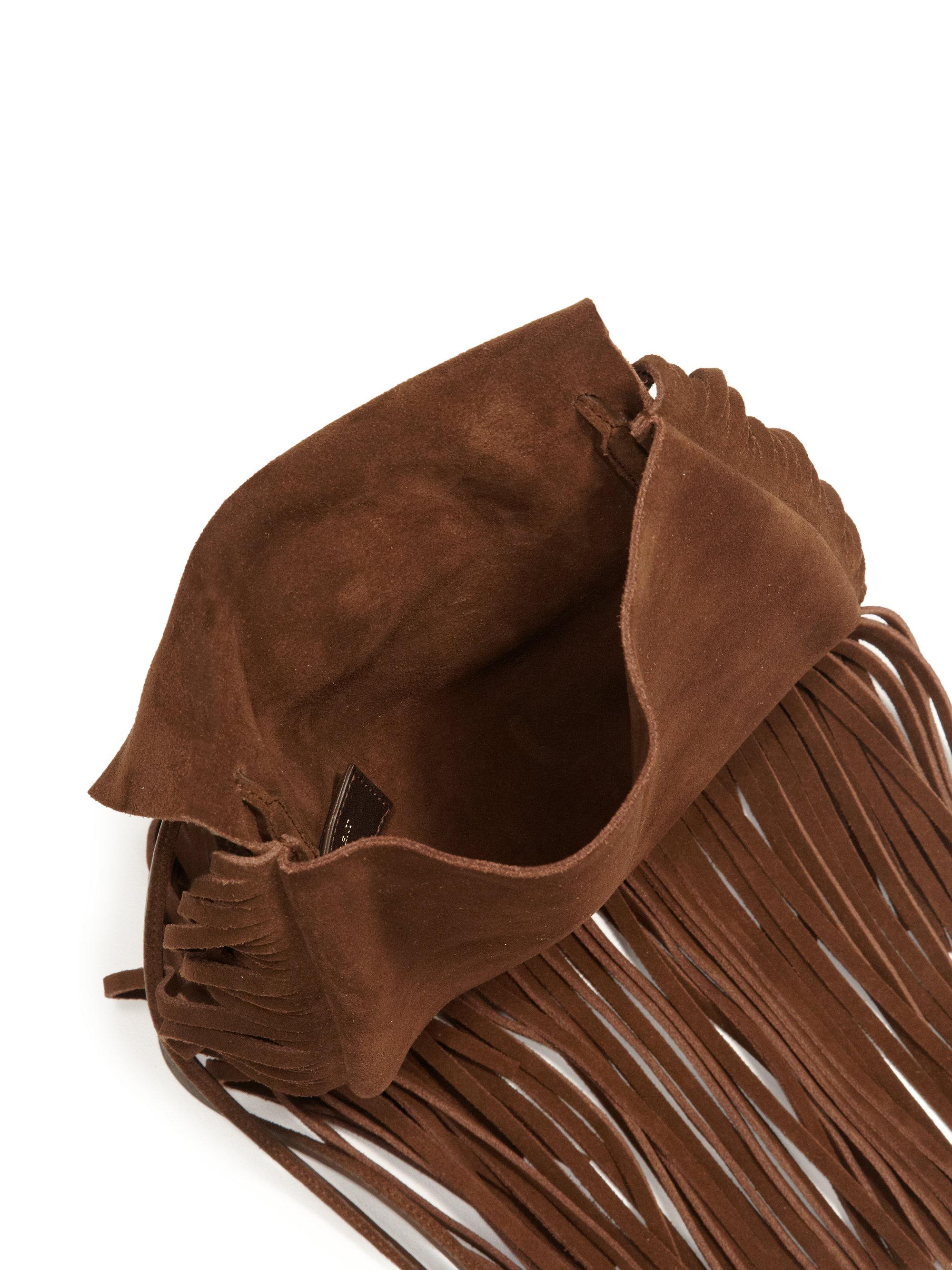 01d94bff3556 Lyst - Saint Laurent Anita Fringe Suede Crossbody Bag in Brown