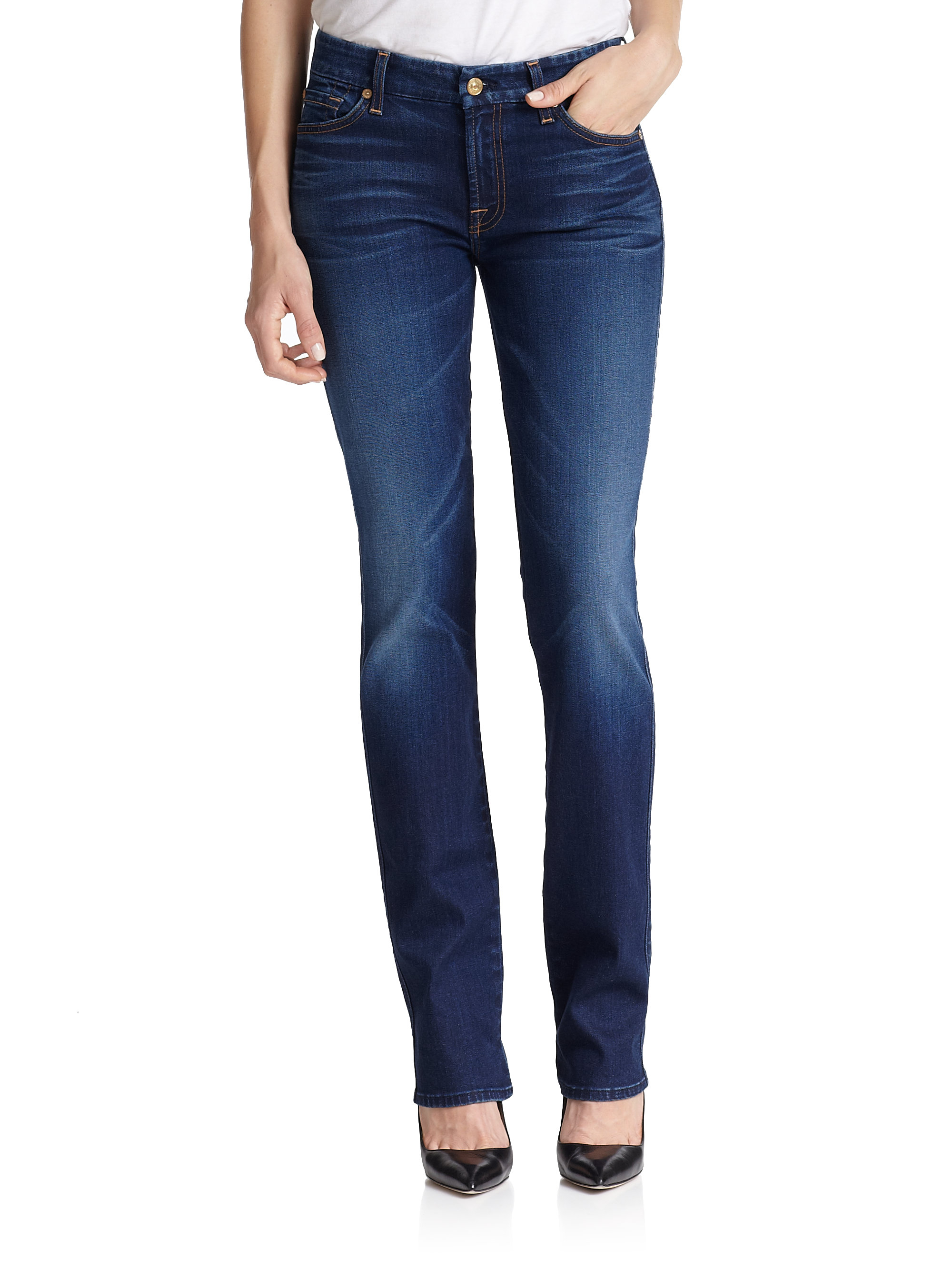 for all mankind kimmie straight fit jeans in blue lyst. Black Bedroom Furniture Sets. Home Design Ideas