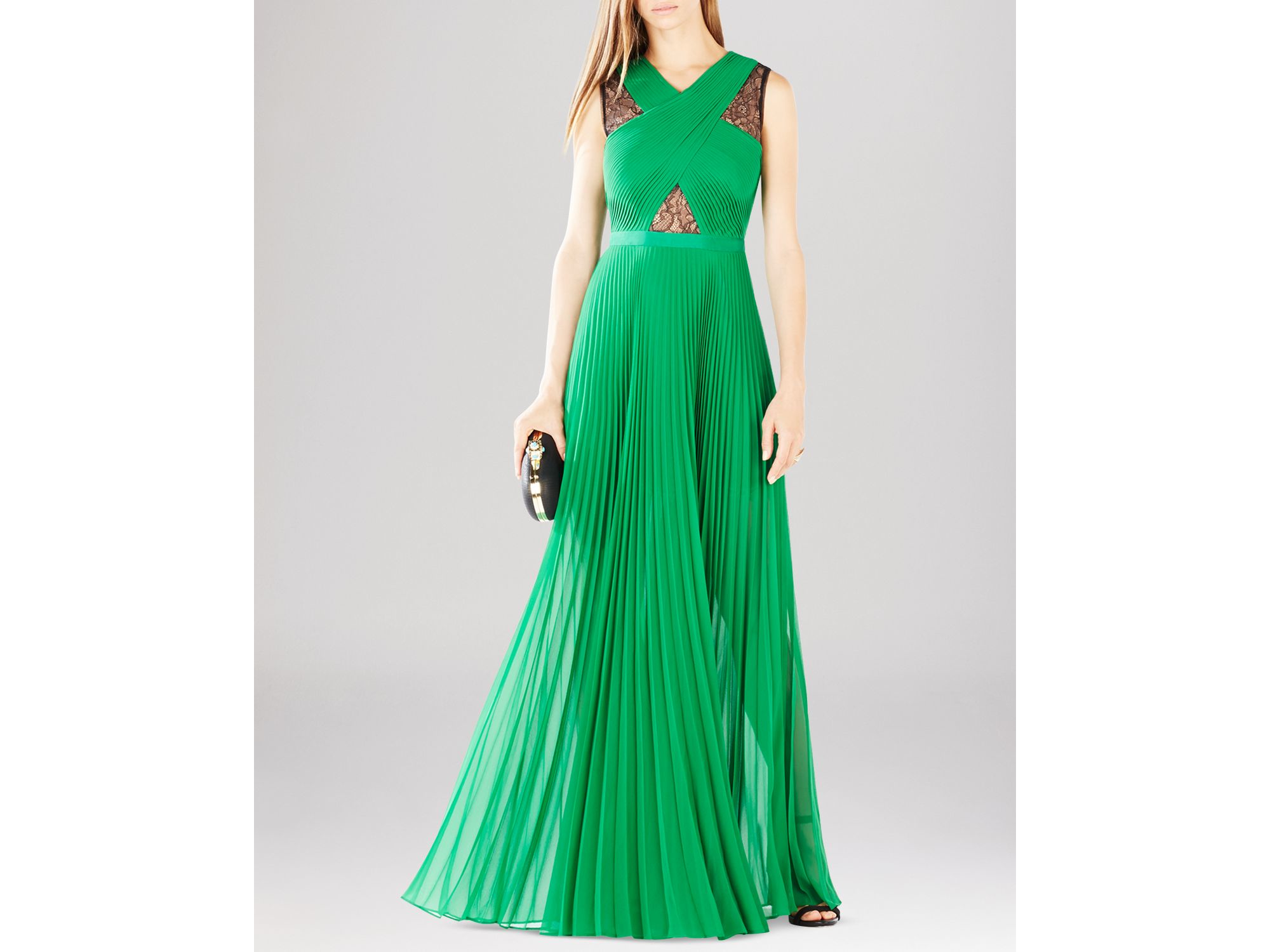 Lyst - Bcbgmaxazria Caia Lace Inset Gown in Green