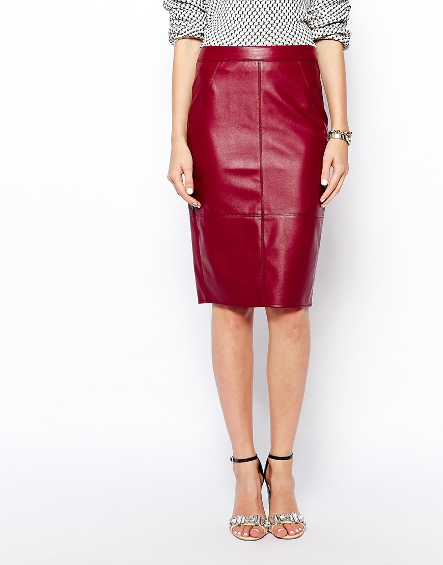 Asos Pencil Skirt In Leather Look in Red | Lyst