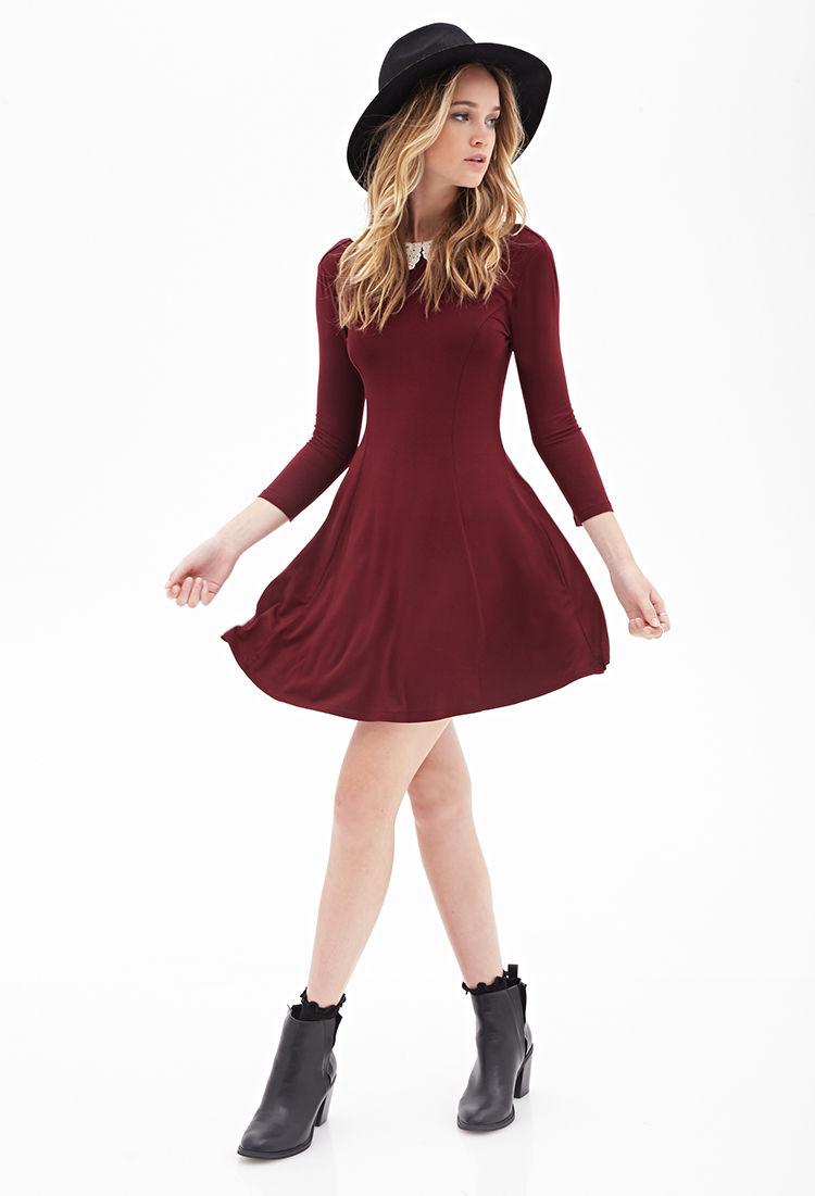 Forever 21 Crochet Collar A-line Dress in Purple | Lyst