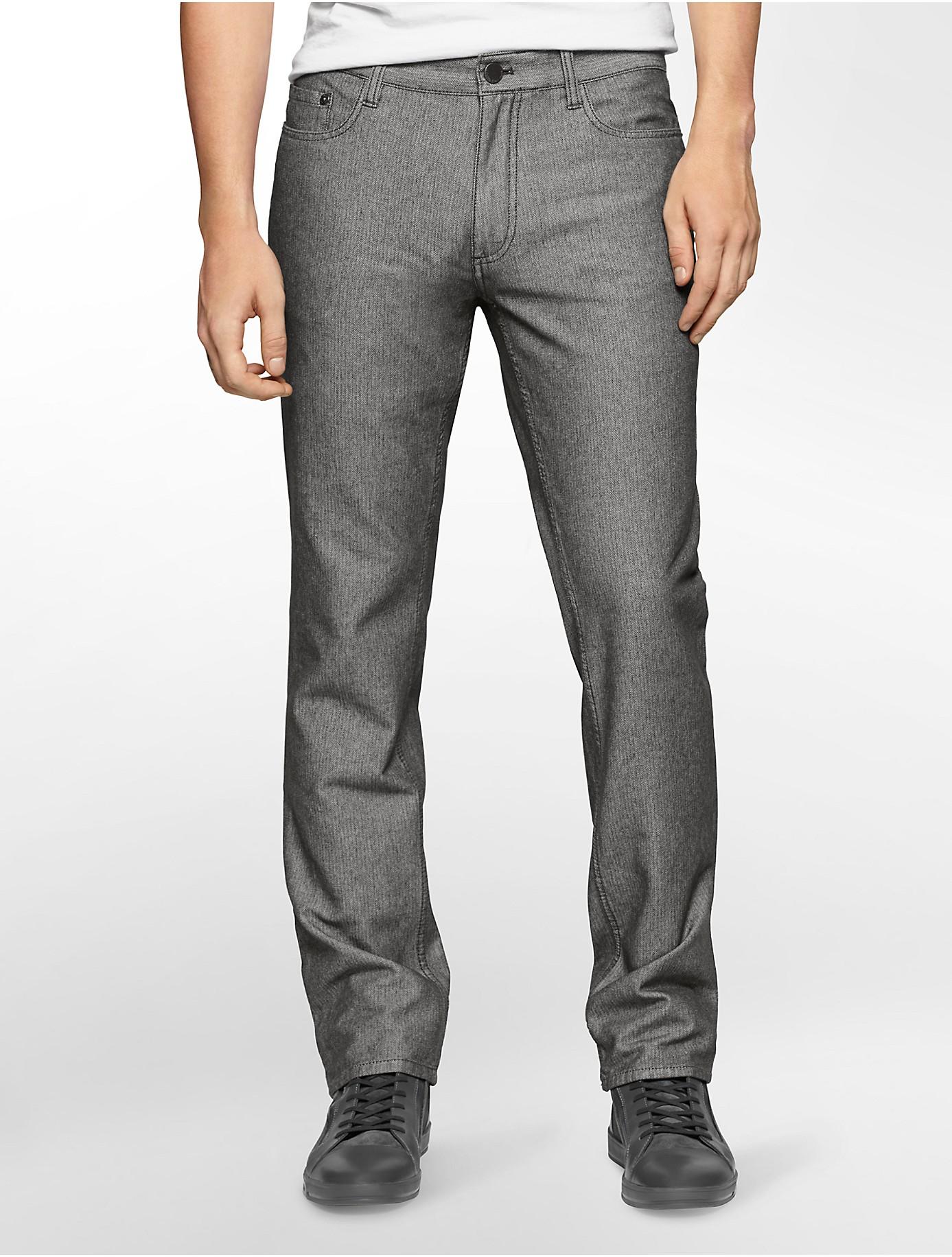 calvin klein jeans slim straight leg herringbone jeans in. Black Bedroom Furniture Sets. Home Design Ideas