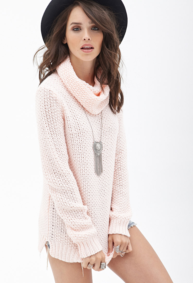 Forever 21 Open-knit Cowl Neck Sweater in Pink | Lyst