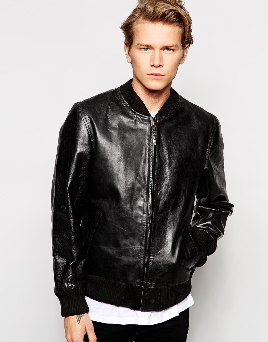 Edwin Leather Jacket Tour Bomber in Black for Men | Lyst